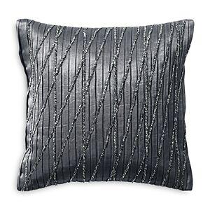 Donna Karan Current Pleated & Beaded Decorative Pillow, 12 x 12  - Gray