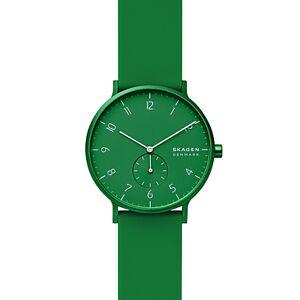 Skagen Aaren Kulr Black Silicone Strap Watch, 41mm  - Unisex - Green