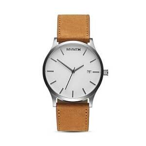 Mvmt Classic White Dial Watch, 45mm  - Male - White/Tan