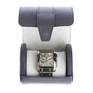 Royce New York Leather Single Watch Travel Roll Case  - Female - Navy Blue