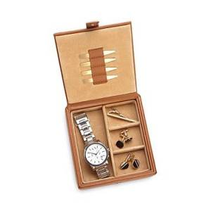 Royce New York Leather Watch & Cufflink Travel Case  - Male - Tan
