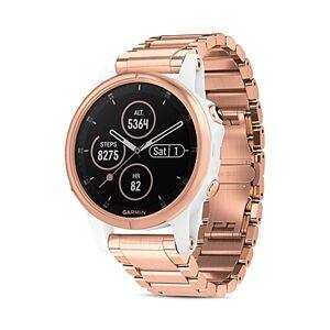 Garmin Fenix 5S Plus Rose Gold-Tone Link Bracelet Smartwatch, 42mm - 100% Exclusive  - Unisex - White/Rose Gold