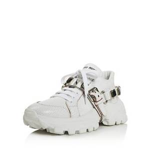 Miu Miu Women's Monstar Crystal Embellished Sneakers  - Female - Bianco/Fume - Size: 8.5 US / 38.5 EU