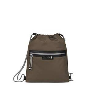 Longchamp Green District Large Drawstring Backpack  - Female - Terra