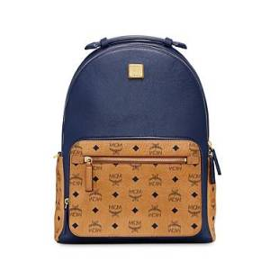 Mcm Men's Stark Visetos Leather Mix Backpack  - Male - Dark Sapphire - Size: 40