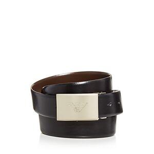 Armani Men's Plaque Buckle Reversible Leather Belt