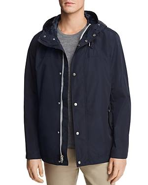 Cole Haan Hooded Rain Jacket  - Male - Navy - Size: Small