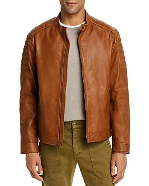 Cole Haan Leather Moto Jacket  - Male - Camel - Size: Small