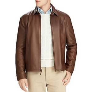Ralph Lauren Polo Ralph Lauren Maxwell Lambskin Leather Zip Jacket  - Male - Brown - Size: Large