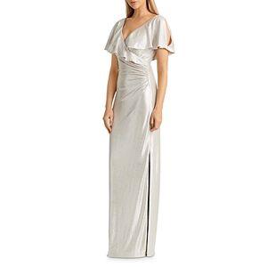 Ralph Lauren Lauren Ralph Lauren Metallic Crossover-Front Gown  - Female - Champagne/Silver - Size: 18