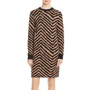 Boss Fadrella Printed Sweater Dress  - Female - Black/Camel - Size: Extra Small