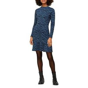 Whistles Animal Print Flounce Dress  - Female - Blue Multi - Size: 18 UK/14 US
