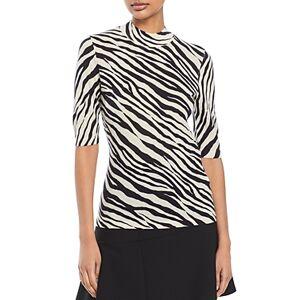 Boss Fabanna Short Sleeve Mock Neck Print Knit Top  - Female - Black Fantasy - Size: Medium