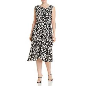 Adrianna Papell Plus Draped Floral A-Line Dress  - Female - Black/Ivory - Size: 18W