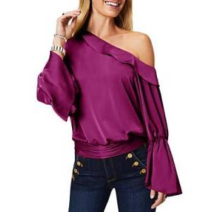 Ramy Brook Sammy Ruffled One Shoulder Blouse  - Female - Mulberry - Size: Small
