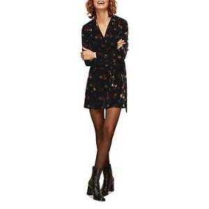 Whistles Flowerpod Velvet Dress  - Female - Black Multi - Size: 18 UK/14 US