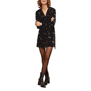 Whistles Flowerpod Velvet Dress  - Female - Black Multi - Size: 18 UK/14 US