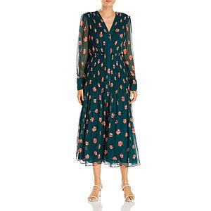 Jason Wu Floral Print Silk Midi Dress  - Female - Cypress/Chili - Size: 6