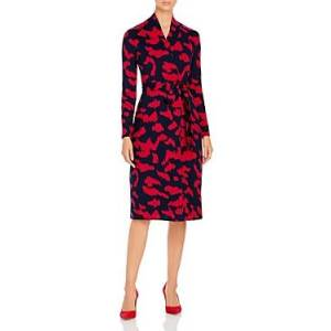 Boss Ettay Printed Long Sleeve Dress  - Female - Red/Navy - Size: Extra Small