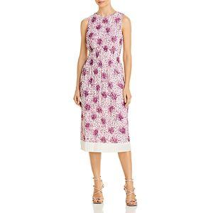 Boss Edroba Printed Midi Dress  - Female - Purple/White - Size: Large