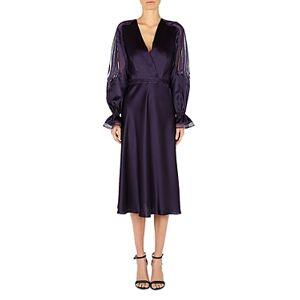 Alberta Ferretti Silk Lace Inset Midi Dress  - Female - Violet - Size: 42 IT/6 US