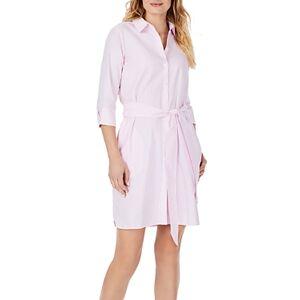 Foxcroft Striped Belted Shirt Dress  - Female - Pink Paradise - Size: 18
