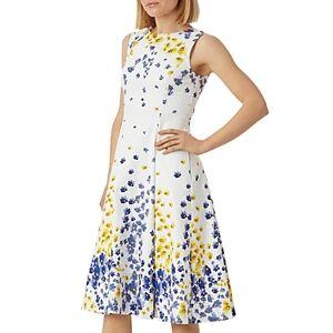 Hobbs London Cleo Full-Skirt Dress  - Female - Ivory Multi - Size: 18 UK/14 US