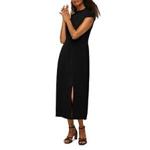 Whistles High Neck Textured Dress  - Female - Black - Size: 10 UK/6 US
