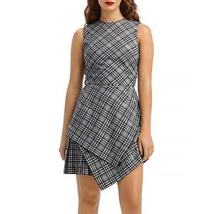 Oscar de la Renta Layered Glen Plaid Dress  - Female - Black/Ivory - Size: 6