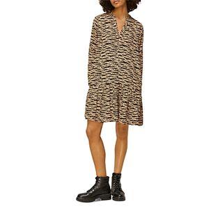 Whistles Tiger & Leopard Print Dress  - Female - Black Multi - Size: 18 UK/14 US