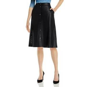 Boss Vefy Faux Leather A-Line Skirt  - Female - Midnight - Size: 4
