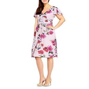 Adrianna Papell Plus Floral Print Faux Wrap Dress  - Pink Multi - Size: 18W