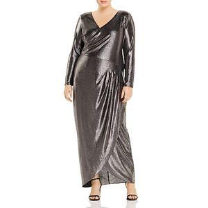 Adrianna Papell Plus Metallic V-Neck Gown  - Female - Black Gunmetal - Size: 18W