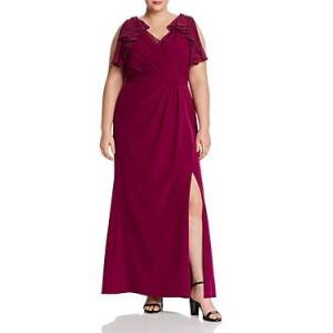 Adrianna Papell Plus Ruffled Chiffon & Crepe Gown  - Female - Wildberry - Size: 18W