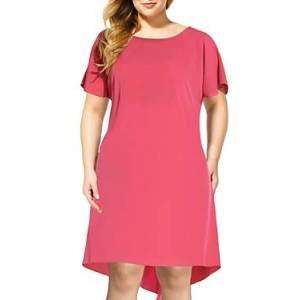 Adrianna Papell Plus High Low Shift Dress  - Super Pink - Size: 18W