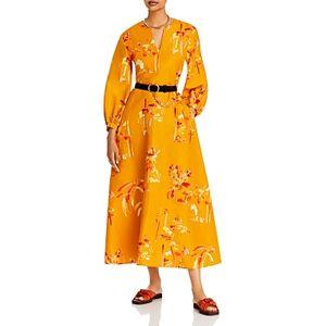 Lafayette 148 New York Leona Printed Maxi Dress  - Female - Tuscan Orange - Size: 14