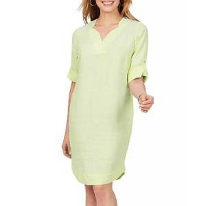 Foxcroft Harmony Non Iron Linen Dress  - Lime Fizz - Size: 18