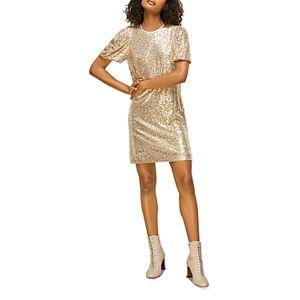Whistles Sequin Shift Dress  - Female - Champagne - Size: 10 UK/6 US