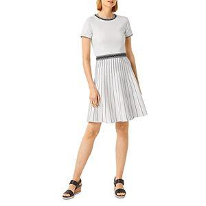 Hobbs London Millie Striped Skirt Dress  - Female - Ivory Black - Size: 18 UK/14 US