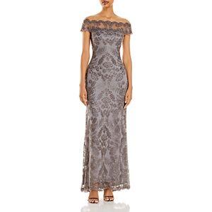Tadashi Shoji Illusion Off-The-Shoulder Lace Gown  - Female - Dark Pearl - Size: 14