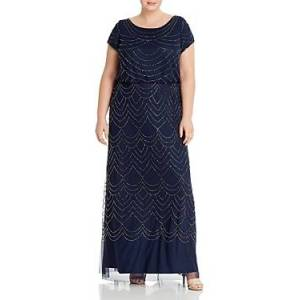 Adrianna Papell Plus Scalloped Beaded Blouson Gown  - Female - Navy - Size: 18W