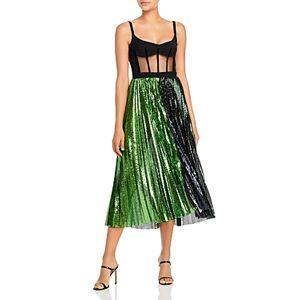 David Koma Corset Top Pleated Sequinned Skirt Dress  - Female - Black/Green - Size: 10 UK/6 US