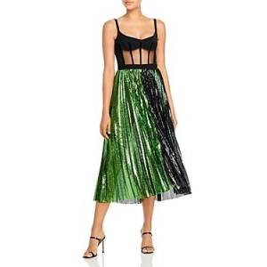 David Koma Corset Top Pleated Sequinned Skirt Dress  - Female - Black/Green - Size: 10 UK/6 US