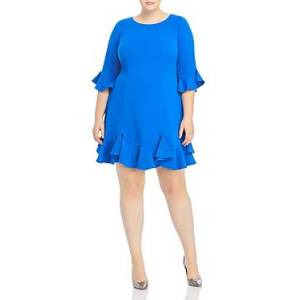 Adrianna Papell Plus Ruffle Trimmed Dress  - Female - Blue Sapphire - Size: 18W