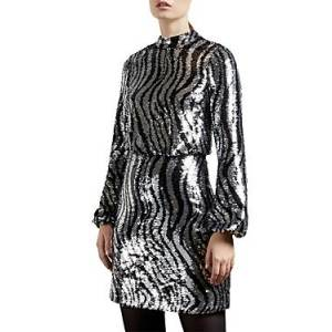 Ted Baker Sequined Mini Dress  - Female - Silver - Size: 1 / US 4