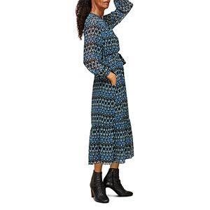 Whistles Printed Midi Dress  - Female - Blue Multi - Size: 18 UK/14 US