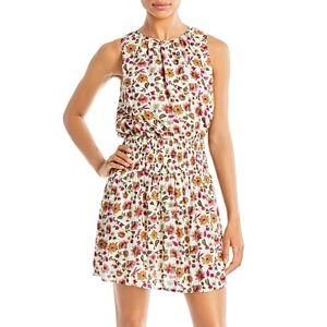 Aqua Floral Smocked Sleeveless Mini Dress - 100% Exclusive  - Female - Ivory Multi - Size: Medium
