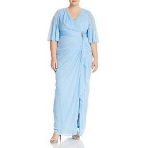 Adrianna Papell Plus Draped Flutter-Sleeve Faux Wrap Gown  - Female - Blue Mist - Size: 18W