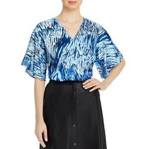 Boss Iwendi Printed Jersey Short Sleeve Top  - Female - Blue - Size: 4