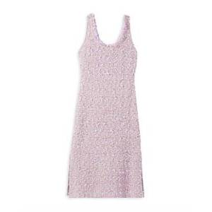 St. John Tweed Knit Dress  - Female - Lilac/Cream - Size: 14